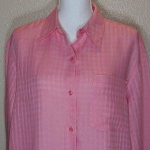 Liz Claiborne Button Down Shirt Irish Linen Pink L